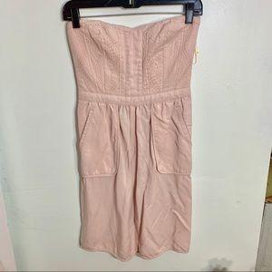 🔴Rebecca Taylor• Strapless Blush Pocket Dress